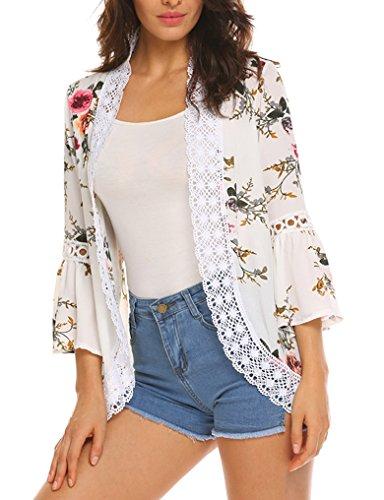 Top Floral Kimono (Women's Boho Lace Patchwork Floral Print Coat Tops Casual Kimono Cardigans (White,L))