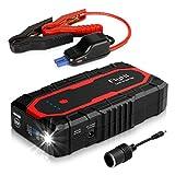 FlyHi N18 1200A Peak Portable Car Jump Starter(Up to 7.0L Gas/6.5L Diesel Engine) 12V Battery Booster with Dual Smart USB, 5/9/12V Quick-Charge, 12V/6A Output, Cigarette Lighter Socket, LED Flashlight