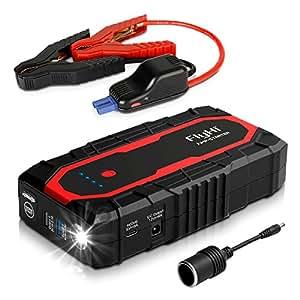 FlyHi N18 1200A Arrancador del Salto (Motor 7,0L Gas / 6,5L Diesel) Acelerador de Batería de 12V con Doble USB 5/9/12V Quick Charge, Salida de 12V/6A, Toma de Encendedor de Cigarrillos Linterna de LED