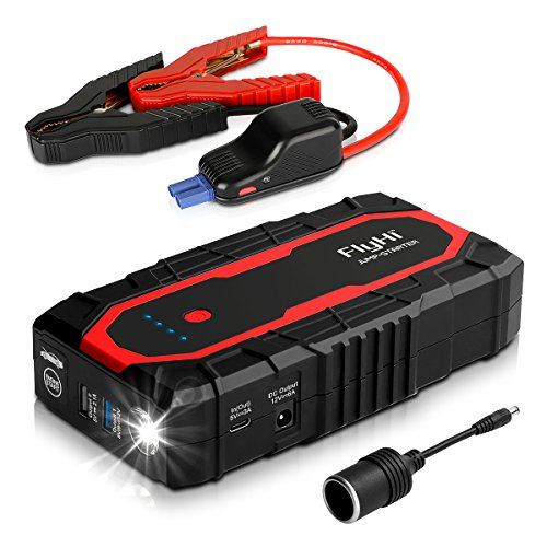 FlyHi N18 1200A Peak Portable Car Jump Starter(Up to 7.0L Gas/6.5L Diesel Engine) 12V Battery Booster with Dual Smart USB, 5/9/12V Quick-Charge, 12V/6A Output, Cigarette Lighter Socket, LED Flashlight
