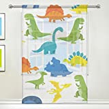 ALIREA Happy Cartoon Dinosaur Background Sheer Curtain Panels Tulle Polyester Voile Window Treatment Panel Curtains For Bedroom Living Room Home Decor, 55×84 inches, 1 Piece For Sale