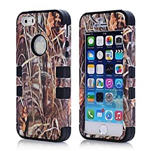 New Tree Camouflage Tough Armor Brown Grass Camo Dirtproof Shockproof Case for iPhone5/5S , Blue
