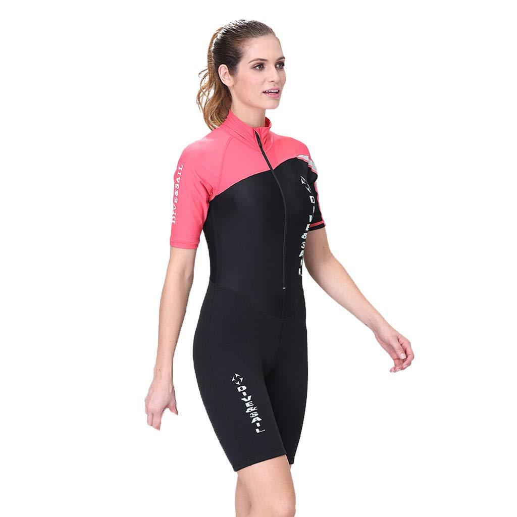 YEZIJIN Women Wetsuit Stretch Diving Suit Snorkeling Swimsuit Surfing Jumpsuit Wetsuit top Long/Short Sleeve Red by Yezijin_Swimsuit (Image #1)