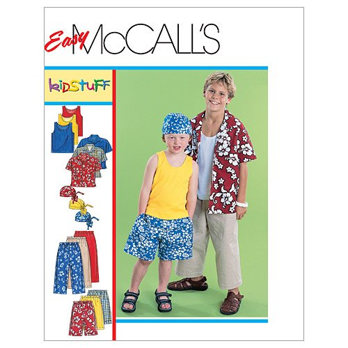 McCall's Patterns M6099 Children's/Boys' Shirt, Tank Top, Pull-On Cropped Pants, Pull-On Shorts and Headwrap, Size Z (MED-LRG-XLG)