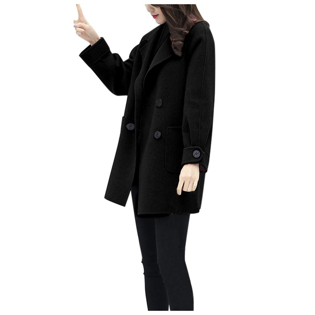 ✪COOLGIRLS✪~Clothing Women Work Solid Vintage Winter Office Long Sleeve Button Woolen Jacket Coat Black by ✪COOLGIRLS✪~Clothing