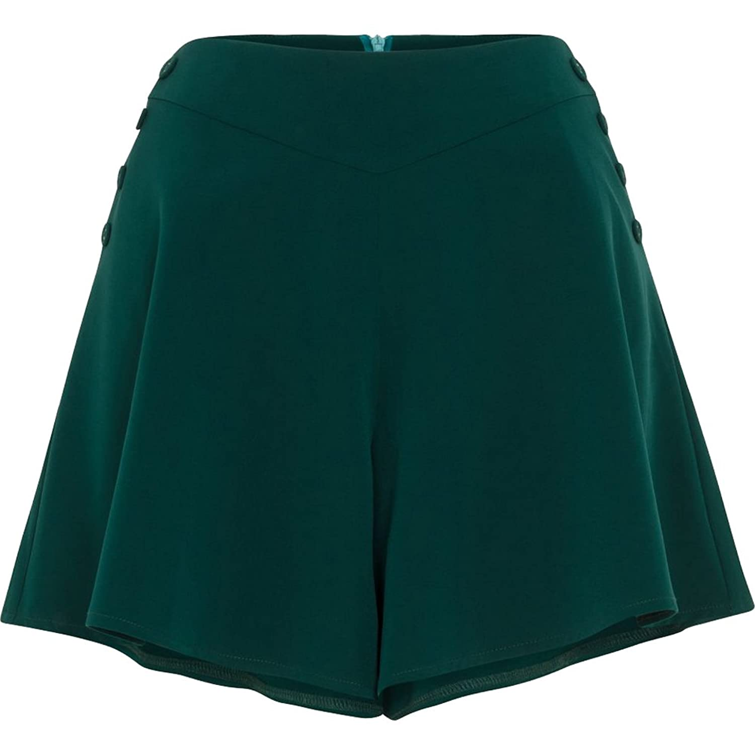Vintage High Waisted Shorts, Sailor Shorts, Retro Shorts Womens Voodoo Vixen MIRA Flare Shorts Green $42.99 AT vintagedancer.com
