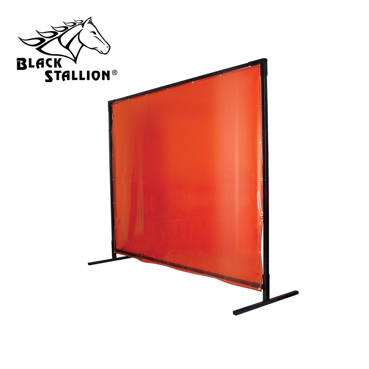 Revco 6X8VF1-ORA 6'X8' 14 mil. 1 Panel Orange Saf-Vu Welding Screen with Frame by Black Stallion