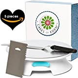 ForeverSmooth 12 Inch Cake Turntable - Quietest Smoothest Rotating Stand and Decorating Supplies Kit Complete w/Offset Spatula, 4 Side Icing Bench Scraper, Lifter Board a Perfect Frosting Baking Set