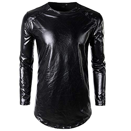- WHLWY Hoodies Casual Comfort Nightclub Men's Solid Color Glossy Shoulders Eight-Button Long-Sleeved T-Shirt Black L