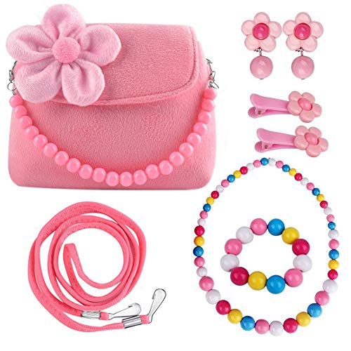 Oisee Little Girls Purse , Cute Kids Flower Handbag Set , Plush Bag with Necklace Bracelet Earring and Hair Clip,Sweet Girls Make Up Accessory-Pink