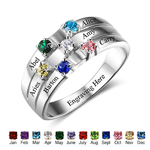 Personalized Mothers Rings with Sumilated Birthstones Engraved Names Family Jewelry Mother's Day Gift (9)