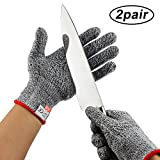 Cut Resistant Gloves By ANRUI - Level 5 Protection EN388 Certified Safety Cutting Gloves For Hand Protection Kitchen Outdoor Yard Work (2 Pair Medium)