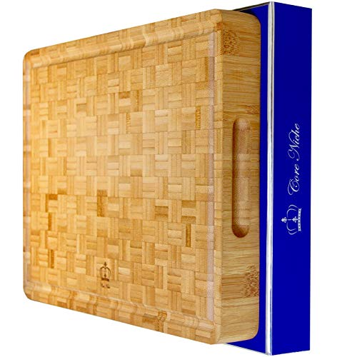 Bamboo Cutting Boards for Kitchen Large Multipurpose 15x12x1¾quot  Chopping amp Carving Board with Handles  Thick Durable Reversible  Butcher Block and Cheese Charcuterie Meat Server  Gift Boxed