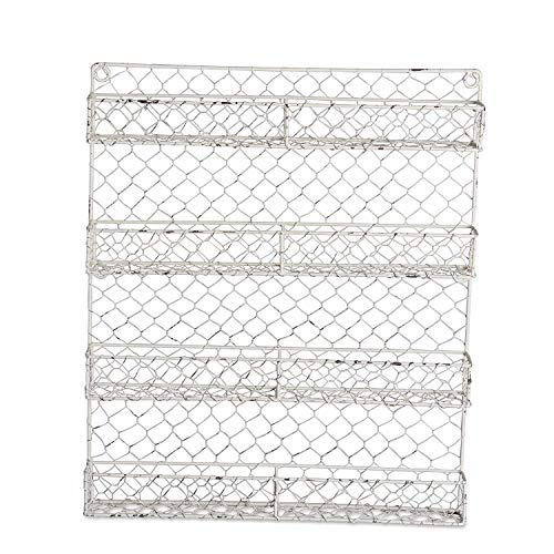 DII Z01925 Farmhouse Vintage White Metal Chicken Wire Spice Rack Organizer for Kitchen Wall, Pantry Or Cabinet, 17