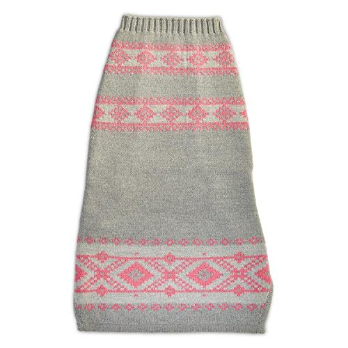 The Fair Isle Dog Sweater (L, Grey/Pink) by World of Angus