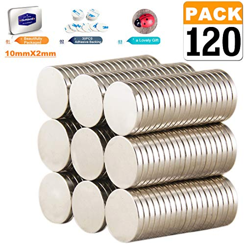 Magnets,Heavy duty 120-PACK Strong Magnets,Round Neodymium Magnets ,Rare Earth Magnets Magnets for tools Organization,for Hanging ,Home,DIY, kitchen ,Crafts. Science(10x3mm)
