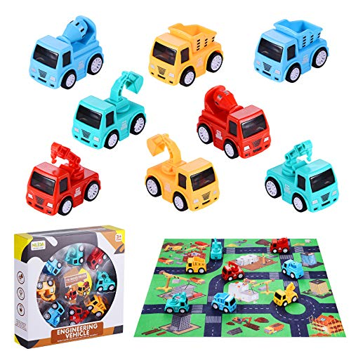 BEESTECH Mini Construction Truck Vehicles Toys with Play Mat, 8 Pack Cars Toys with Excavator Dump Truck Mixer Crane, Construction Party Favors, Toys for 2, 3, 4 Year Old Boys Toddlers Kids