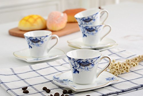 Porlien Porcelain 2.5-Ounce/80ml Small Espresso Cups Set of 4 with Saucers, Blue Floral Gold Trimmed by Porlien (Image #6)
