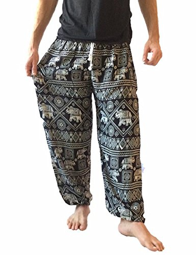 Love Quality Men's Baggy Printed Harem Pants (Black) by Love Quality