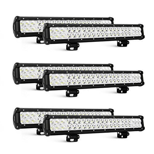Nilight 6PCS 20 Inch 126W LED Light Bars Spot Flood Combo Led Off Road Driving Lights Led Fog Lights Jeep Lights Boat Lighting LED Work Light, 2 Years Warranty ()