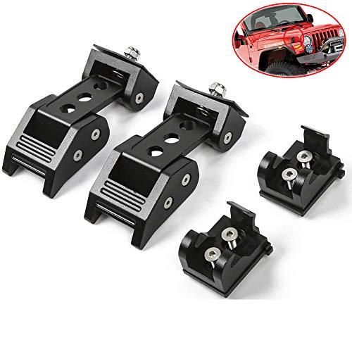 EIGIIS Jeep Wrangler Hood Latches Lock Stainless Steel Hood Locking Latch Catch Kit for 2007-2018 Jeep JK Wrangler Unlimited (Black)