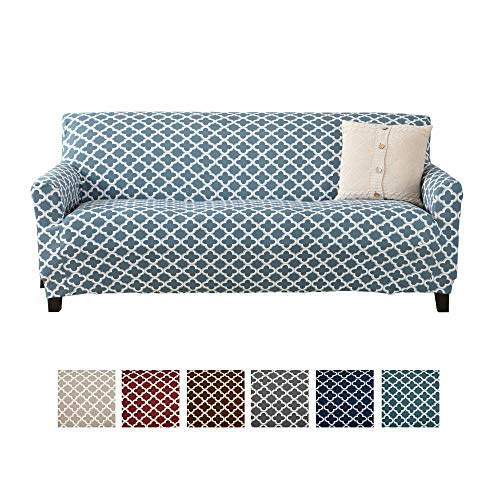 Home Fashion Designs Printed Twill Sofa Slipcover. One Piece Stretch Couch Cover. Strapless Sofa Cover for Living Room. Brenna Collection Slipcover. (Sofa, Smoke Blue)