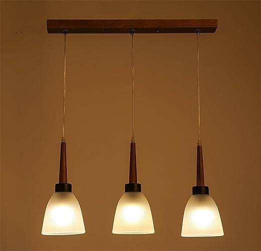 Atcoe Hanging Lights Chandeliers Solid Wood Glass Triple