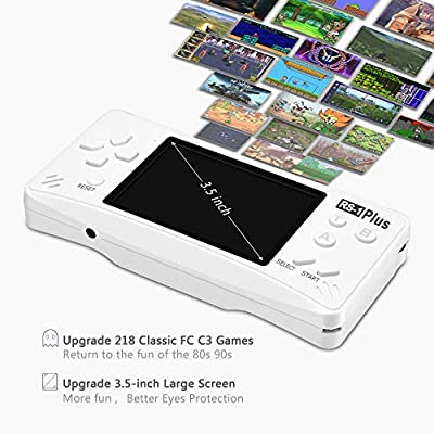 X-JJFUN Handheld Game Player for Kids Adults Portable Classic Game Controller Built in 218 Games 3.5 Inch LCD 1 USB Charge Retro Arcade Video Gaming System,Birthday Presents for Children-Pearl White