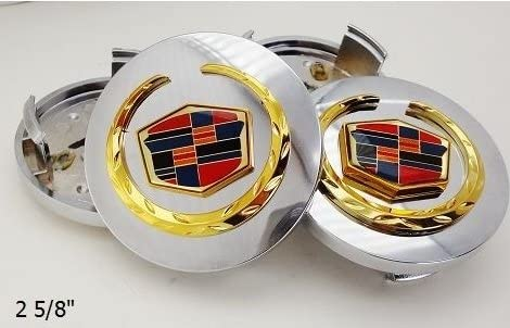 4x 66mm New Glossy Silver Wheel Center Hub Caps Emblem For Cadillac ATS XTS STS
