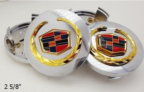 - CADILLAC CTS STS DEVILLE DTS XTS XLR ATS CHROME CENTER CAPS WITH GOLD EMBLEMS 2 5/8TH