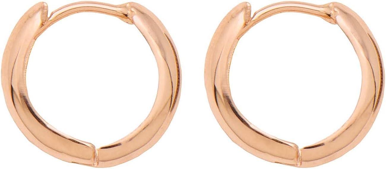 Small 14K Gold Huggie Hinged Hoop Earrings, 0.5 In (12mm) (3mm Tube)
