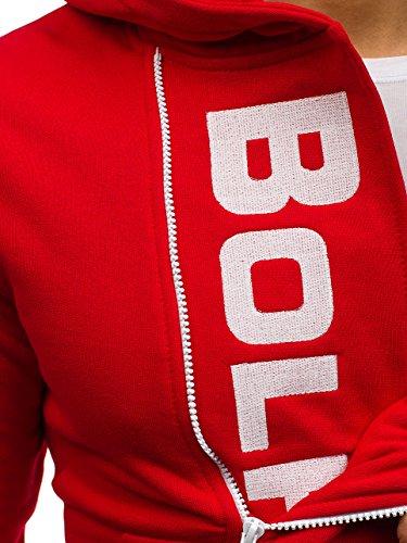 Rouge Avec Sport Sweatshirt Pull Bolf Fermeture De 1a1 01s Capuche blanc Éclair R6OgFwq