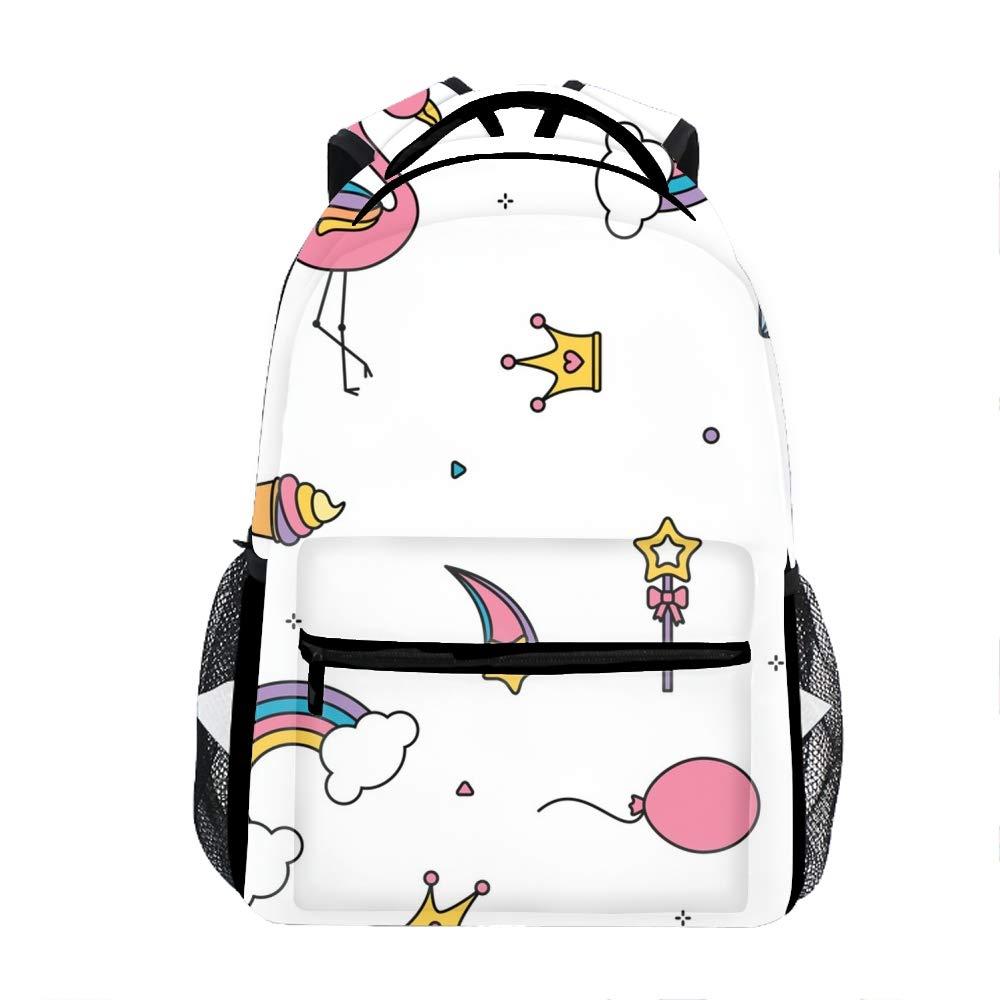 Flamingo rainbows5 Laptop Backpacks Ballet Art Girls Women Travel Daypack Bag