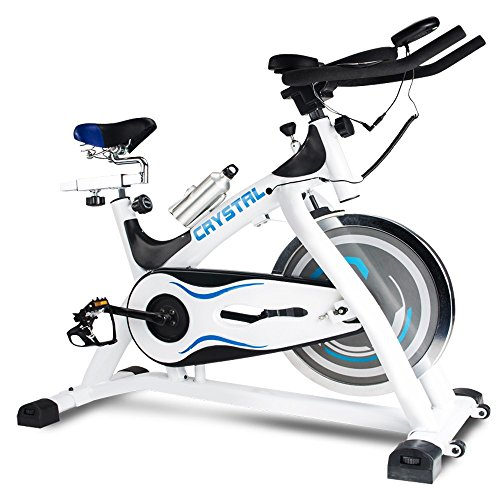 Home Use Indoor Exercise Cycling Bike Stationary With LCD Monitor, Bike Fitness Equipment Crystal SJ-32411 White