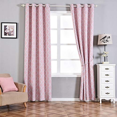 Efavormart 2 Panels White/Blush Lattice Print Window Blackout Drapery Thermal Insulated 52x108inch Curtain Panel Drapes Window