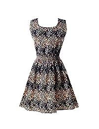 Honghu Women's Fashion Slim Casual Sleeveless Short Sleeves Chiffon Dress