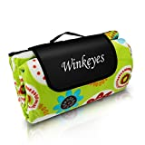 Winkeyes Large Soft Picnic Blanket Waterproof Sandproof Foldable Camping Blanket Soft Outdoor Picnic & Beach Mat for Outdoors/ Travel/ Camp/ Park (Sunflower)