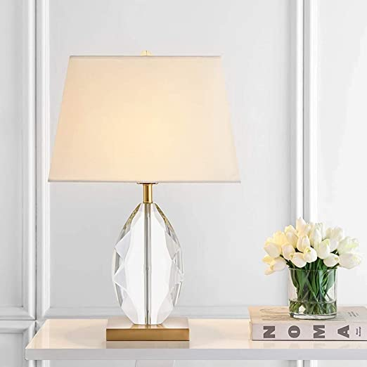 AJJA Cristal Lámpara De Mesa Decorativa Tela Blanca Pantalla De ...