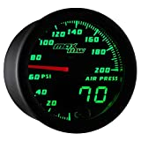 "MaxTow Double Vision 200 PSI Air Pressure Gauge Kit - Includes Electronic Sensor - Black Gauge Face - Green LED Dial - Analog & Digital Readouts - for Air Ride Suspension Systems - 2-1/16"" 52mm"