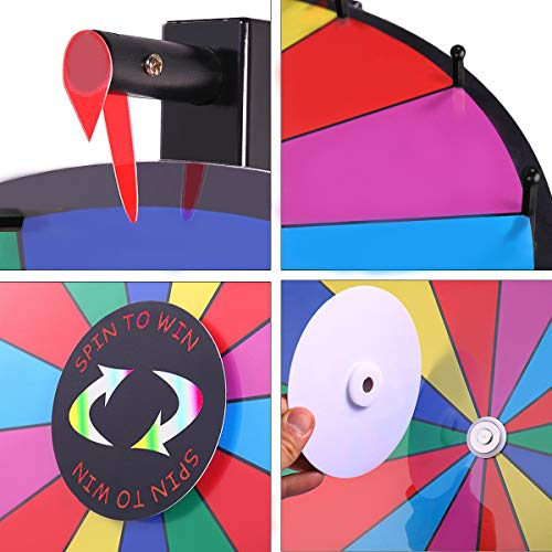 T Sign 24 Heavy Duty Tabletop Spinning Prize Wheel 14 Slots Color