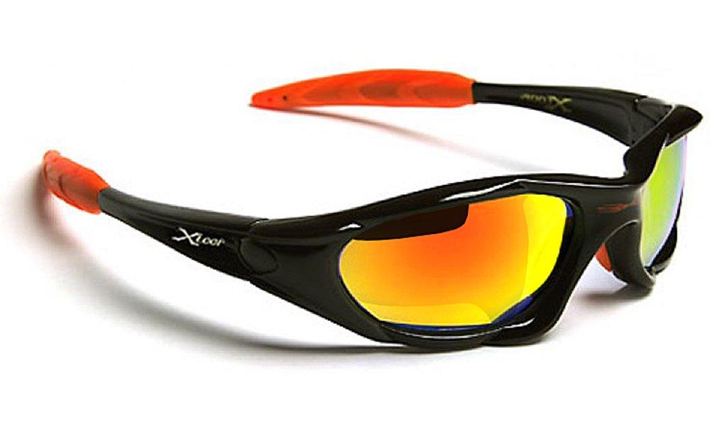 X-Loop Lunettes de Soleil - Sport - Cyclisme - Ski - Tennis - Moto - Conduite - Mode - Plage / Mod. 010P Noir Orange Diesel Spectrum Miroir Xloop XL010P02