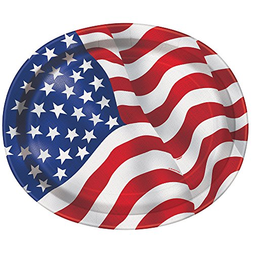 American Flag Oval Paper Plates