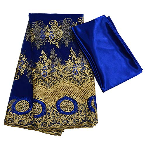 Milylace 5 Yards African Lace Fabrics with Beading Embroidery and Rhinestones + 3 Yards Pure Color Satin Fabric for Wedding Party Dresses (Royal Blue)
