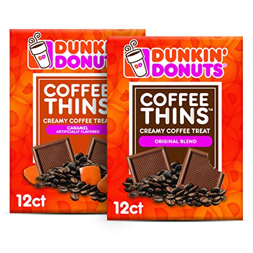 Dunkin' Donuts Coffee Thins - Original Blend & Caramel - 24 Dunkin Coffee Candy Squares (2 Bags) ()