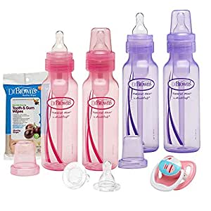 Dr. Brown's 8 Ounce Baby Bottle, Pacifier, Nipple, Cleaning Brush Gift Set - Girls