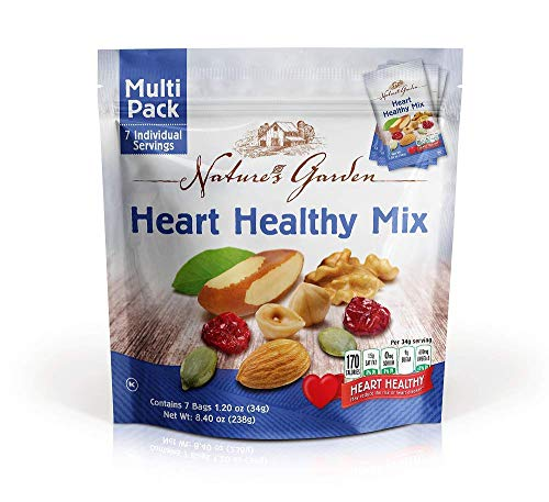 Healthy Heart Snack - Natures Garden Heart Healthy Mix Single Serve 1.2 Ounce Bags, Pack of 7