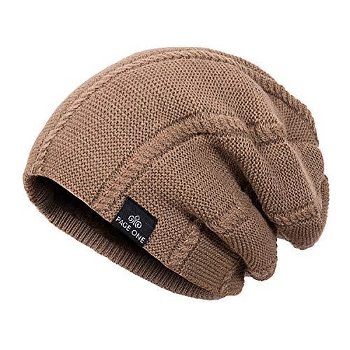 (PAGE ONE Mens Winter Warm Knit Beanie Hat Soft Fleece Lined Stretch Slouchy Skully Striped Beanie (Black&Grey))