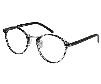 9772ca3a9ce Image Unavailable. Image not available for. Color  EyeBuyExpress Bifocal RX Glasses  Women Men Black Stylish Round Spotted Vintage Look Retro