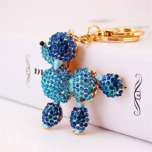 - Crystal Dog Cute Flower Poodle Sparkling Keychain Rhinestones Purse Bag Charm Pendant Keyring Gift for Girl Woman Lady (Blue)