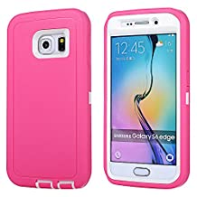 MOONCASE Galaxy S6 Edge Case, 3 Layers Heavy Duty Defender Hybrid Soft TPU +PC Bumper Triple Shockproof Drop Resistance Protective Case Cover for Samsung Galaxy S6 Edge -Pink White